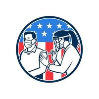 American Frontline Worker Vaccinated with Covid-19 Vaccine by a Medical Doctor or Nurse with Usa Flag Retro Icon vector