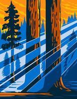 el monumento nacional de la secuoya gigante ubicado en el sur de sierra nevada en el este de california central usa wpa poster art vector