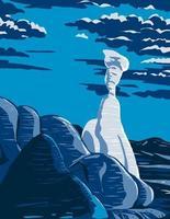 setas venenosas en el gran monumento nacional escalinata-escalante en utah en la noche wpa poster art vector