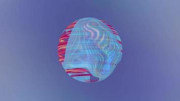 fundo azul com esfera giratória abstrata. video