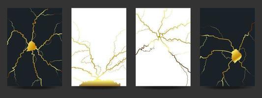 Gold kintsugi cover design background vector