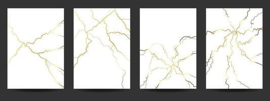 Gold kintsugi cover design background. vector