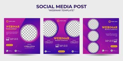 social media story post templates webinar vector