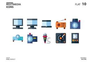10 Icon collection of Multimedia in flat style. vector illustration and editable stroke. Isolated on white background.
