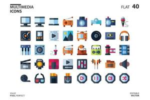 Icon collection of Multimedia in flat style. vector illustration and editable stroke. Isolated on white background.