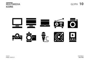 Icon collection of Multimedia in glyph style. vector illustration and editable stroke. Isolated on white background.