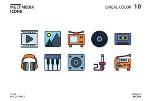 Multimedia icon collection line and fill style vector