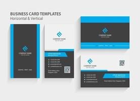 Double-sided Creative and Modern Business Card template. Portrait and landscape orientation. Horizontal and vertical layout. Stationery Design, Print Template, Vector illustration.