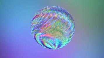 esfera de belo arco-íris sobre fundo azul. video
