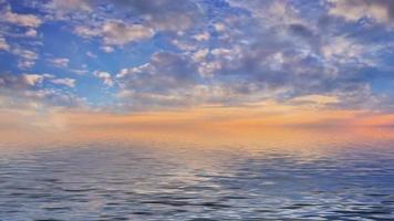 cinemografia de uma paisagem de mar com um belo pôr do sol.