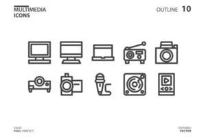 colección de iconos de línea multimedia vector