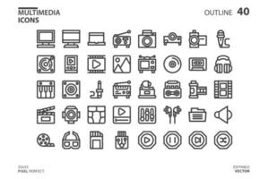 Multimedia line icon collection vector
