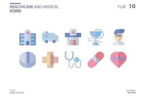 Healthcare And Medical icon set in flat style. Vector logo design template. Modern design icon, symbol, logo and illustration. Vector graphics illustration and editable stroke. Isolated on white background.