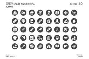 Healthcare And Medical icon set in glyph style. Vector logo design template. Modern design icon, symbol, logo and illustration. Vector graphics illustration and editable stroke. Isolated on white background.