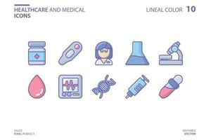 Healthcare and medical line and fill icon set vector
