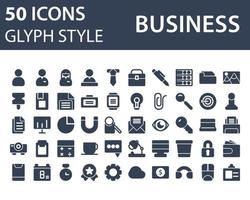 Set of Business icon in glyph style isolated on white background. for your web site design, logo, app, UI. Vector graphics illustration and editable stroke. EPS 10.