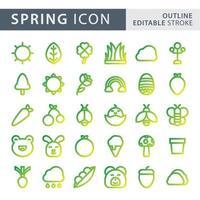 Set of spring gradient line icon set vector