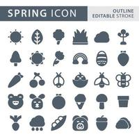 Set of spring silhouette icon set vector