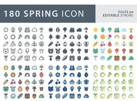 Set of spring icon set vector