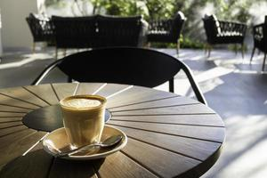 Morning hot coffee at a resort cafe photo