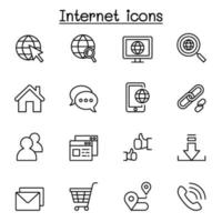 Internet browser icon set in thin line style vector