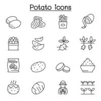 potato icon set in thin line style vector