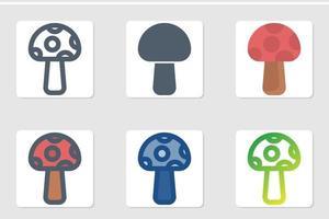 mushroom iicon set vector