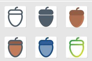 acorn icon set vector