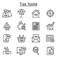 icono de impuestos en estilo de líneas finas vector