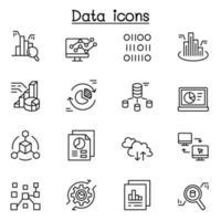 icono de datos en estilo de línea fina vector