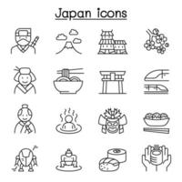japan icon set in thin line style vector