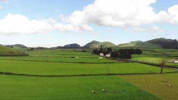 Panorámica de vastos campos de pastoreo verde en las Azores, Portugal - disparo de revelación de sobrevuelo