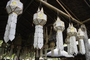 Paper lanterns hanging from the raftesr