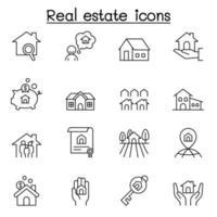 iconos de bienes raíces en estilo de línea fina vector