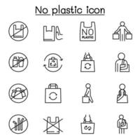 No plastic sign icon set in thin line style vector