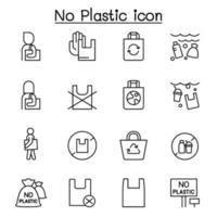sin iconos de bolsa de plástico en estilo de línea fina vector