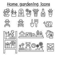 iconos de jardinería doméstica en estilo de línea fina vector