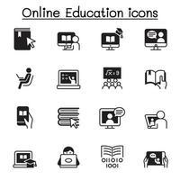 Diseño gráfico del ejemplo del vector del conjunto de iconos de la educación en línea