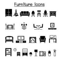 Diseño gráfico del ejemplo del vector del conjunto de iconos de muebles