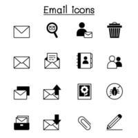 Diseño gráfico del ejemplo del vector del conjunto de iconos de correo electrónico