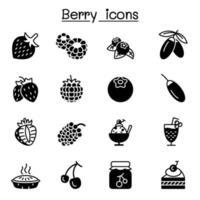 Diseño gráfico del ejemplo del vector del conjunto de iconos de las bayas