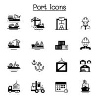 Set of marine port related vector icons.