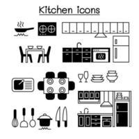 Diseño gráfico del ejemplo del vector del conjunto de iconos de la cocina