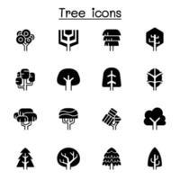 árbol, icono, conjunto, vector, ilustración, diseño gráfico vector