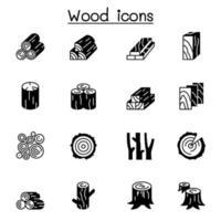 Diseño gráfico del ejemplo del vector del conjunto de iconos de madera