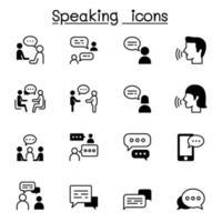 hablar, discurso, discusión, diálogo, hablar, charla, conferencia, reunión icono conjunto ilustración vectorial diseño gráfico vector