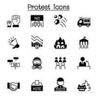 Protesta y caos conjunto de iconos ilustración vectorial diseño gráfico