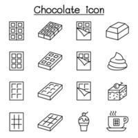 Chocolate icon set in thin line style vector