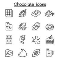 cacao, chocolate, icono de cacao en estilo de línea fina vector