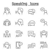 hablar, discurso, discusión, diálogo, hablar, charla, conferencia, icono de reunión en estilo de línea fina vector